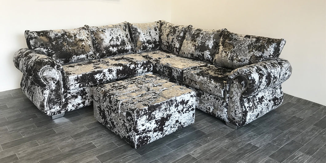 Double Crushed Velvet corner Sofa