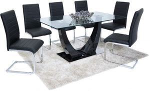 Oslo Dining Set 6 Black New York Chairs