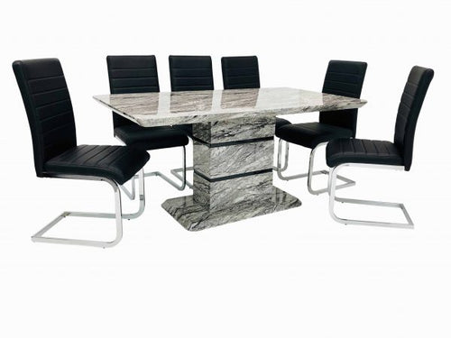 Marble Effect Table With 6 New York Chairs