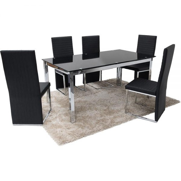 Sofia Dining Set 6 Black New York Chairs