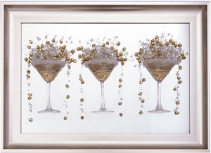 Reims 1 Bronze Silver Cocktail Glasses Picture Mirror Glass Frame with 3D Kerry Crystal Art