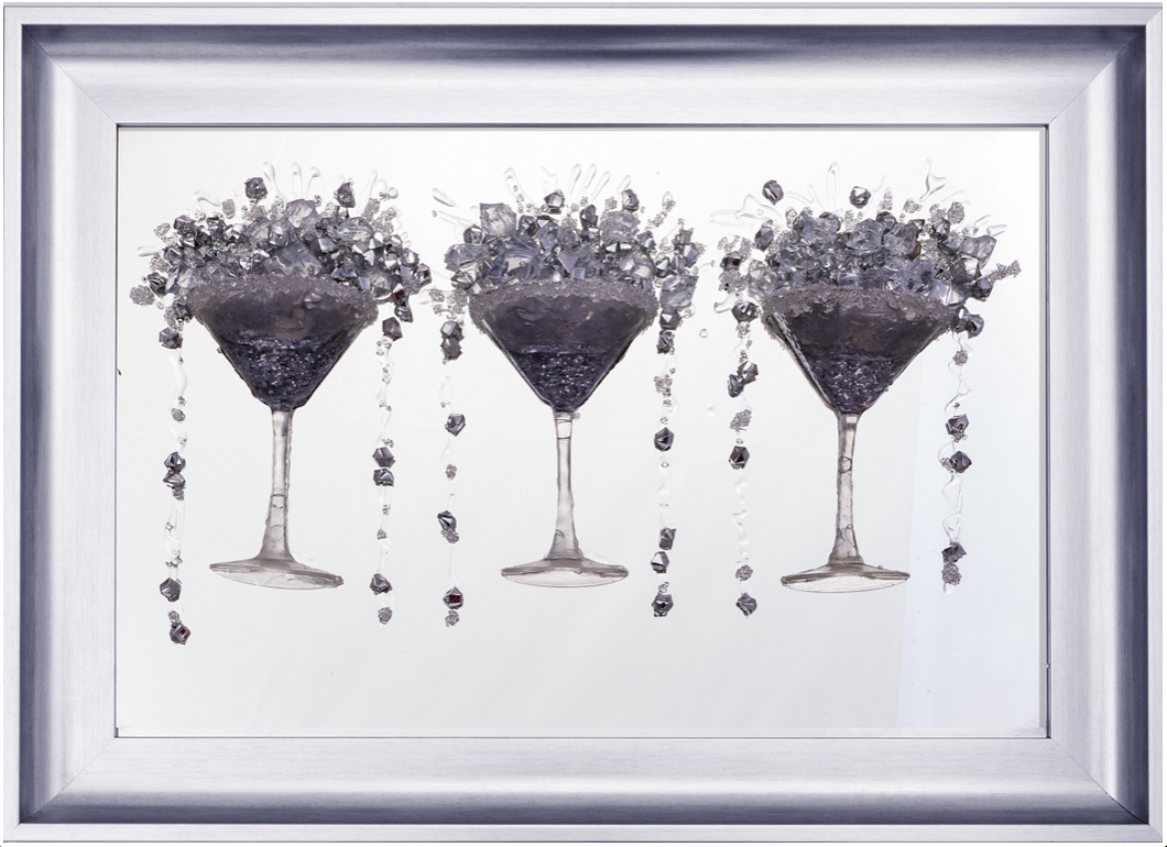 Reims 2 Bronze Chrome Cocktail Glasses Picture Mirror Glass Frame with 3D Kerry Crystal Art