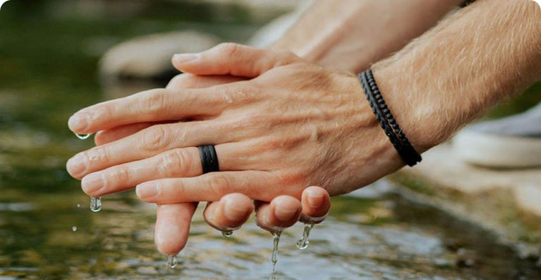 Silicone rings can't protect you from dysentery when you wash your hands in a stream, but they'll make you look great while doing it | Enso Silicone Rings