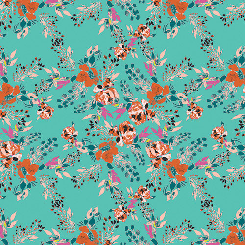 Episodic Blooms Aqua, Art Gallery Fabric