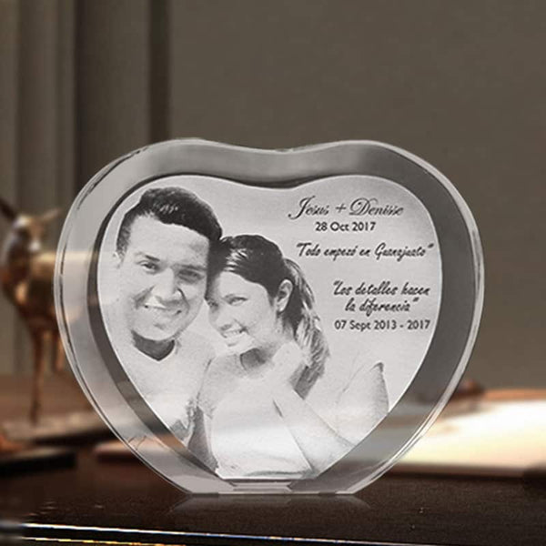 Customized Heart Shape Laser Engraved Crystal Photo Album - LuLuify.com