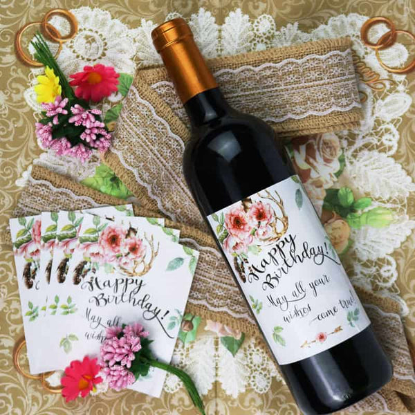 Happy Birthday Wine Bottle Label - LuLuify.com