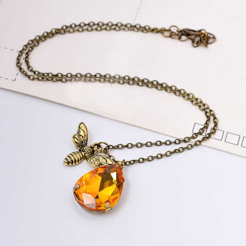 Cute Yellow Crystal Honey Bee Pendent Necklace - LuLuify.com