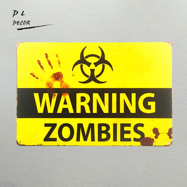 ZOMBIE WARNING METAL SIGNS - LuLuify.com