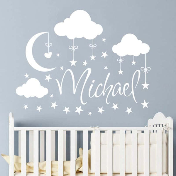Personalized Name Clouds Moon Stars Wall Sticker - LuLuify.com