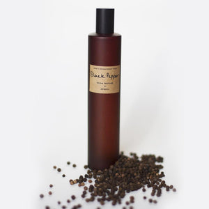 "alt= ""AEQUILL Black Pepper Room Perfume Spray with scattered black pepper seeds in white background"""