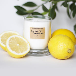 AEQUILL Lemon & Geranium Essential Oil Scented Candle