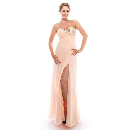 AG Studio pale peach strapless with crystals, size S/M/XL
