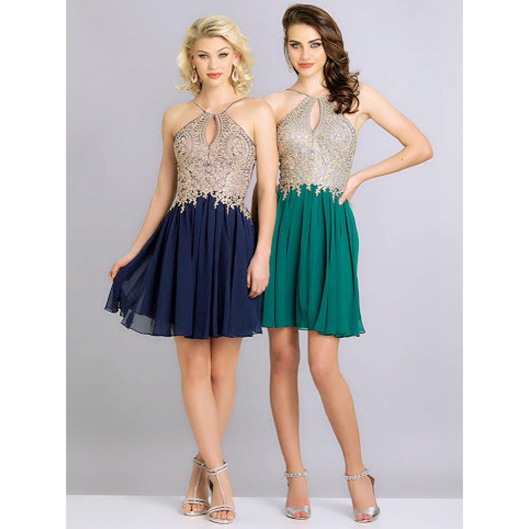 Dave & Johnny navy and gold dress, size 8, NEW!