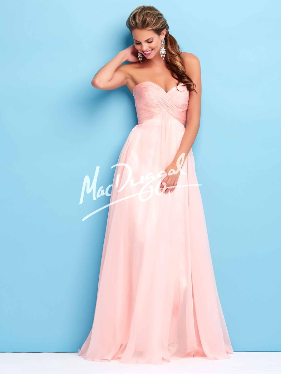 MacDuggal blush strapless dress, size
