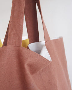 MIKANU Linen Shopper With Print