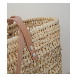 DAILY BASKET KNITTED SHOPPER - FLAT LEATHER HANDLE