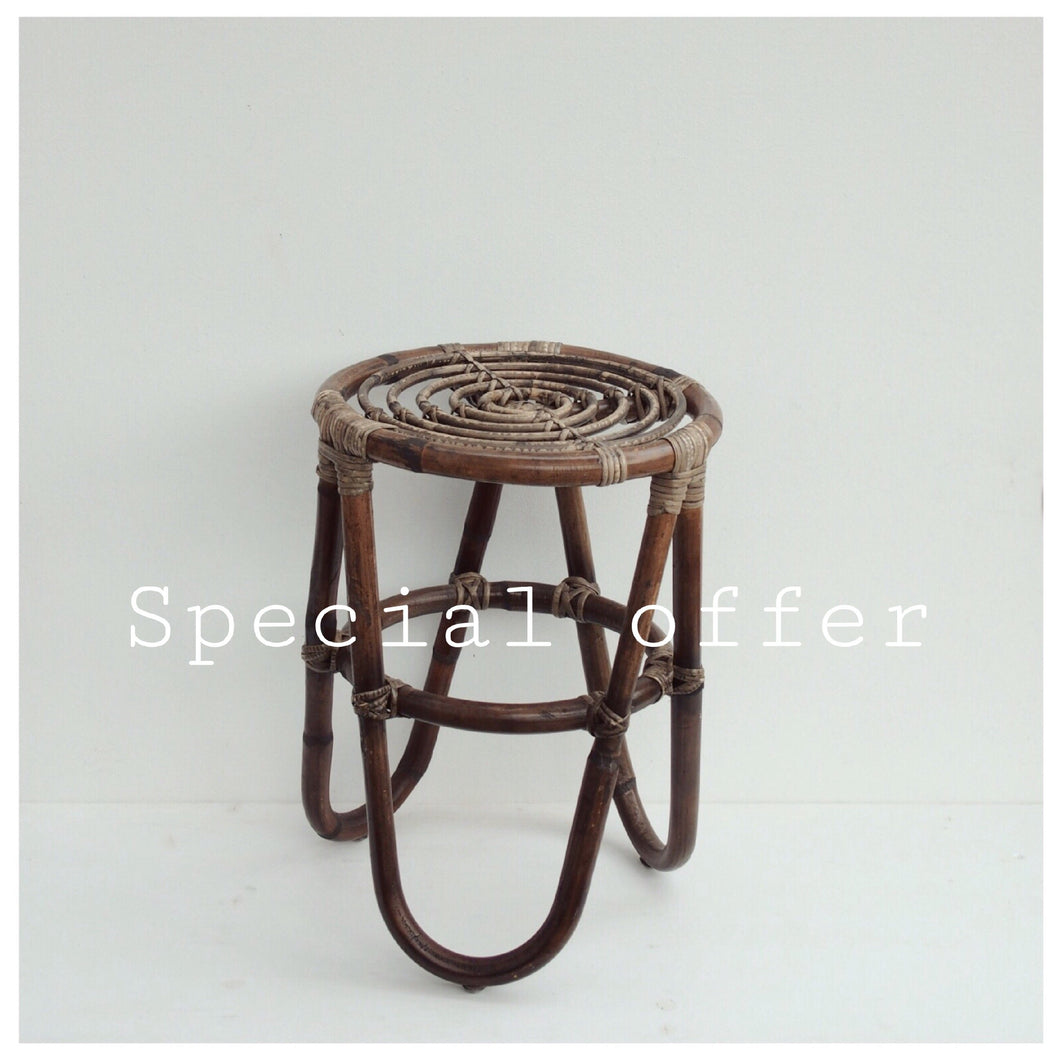 MIKANU SPECIAL OFFER - RATTAN STOOL ANTIQUE