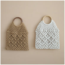 Load image into Gallery viewer, MIKANU HAND CROCHET BAG WITH WOODEN HANDLE