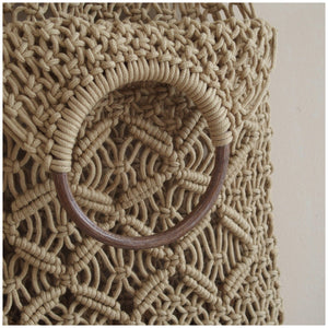 MIKANU HAND CROCHET BAG WITH WOODEN HANDLE
