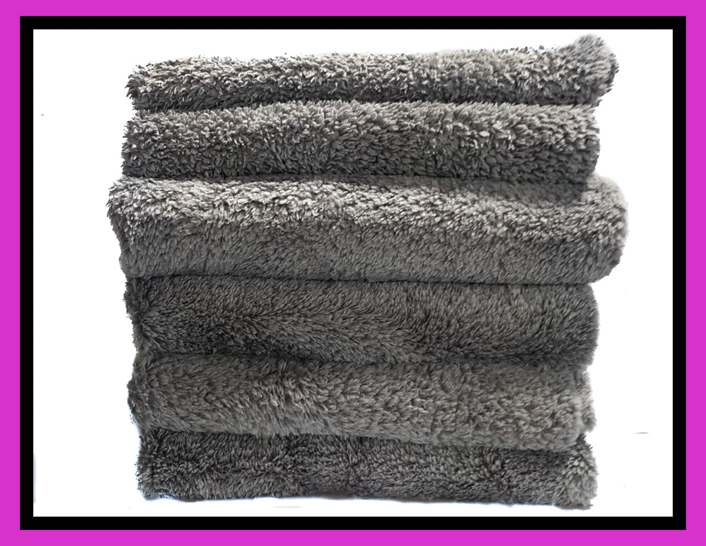 JOHNNY'S WAX SHOP BORDERLESS GREY MICROFIBER TOWEL (6 PACK)