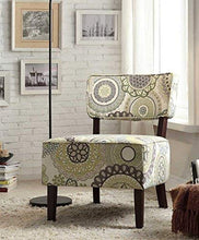 Load image into Gallery viewer, Armless Accent Chair, Beige with Floral Medallions Stitching Fabric