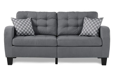 Sinclair Tufted Accent Sofa with Two Geometric Pattern Toss Pillows, Grey