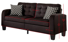 Load image into Gallery viewer, Sinclair Tufted Accent Sofa with Two Geometric Pattern Toss Pillows, Chocolate