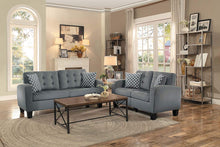 Load image into Gallery viewer, Sinclair Tufted Accent Sofa with Two Geometric Pattern Toss Pillows, Grey