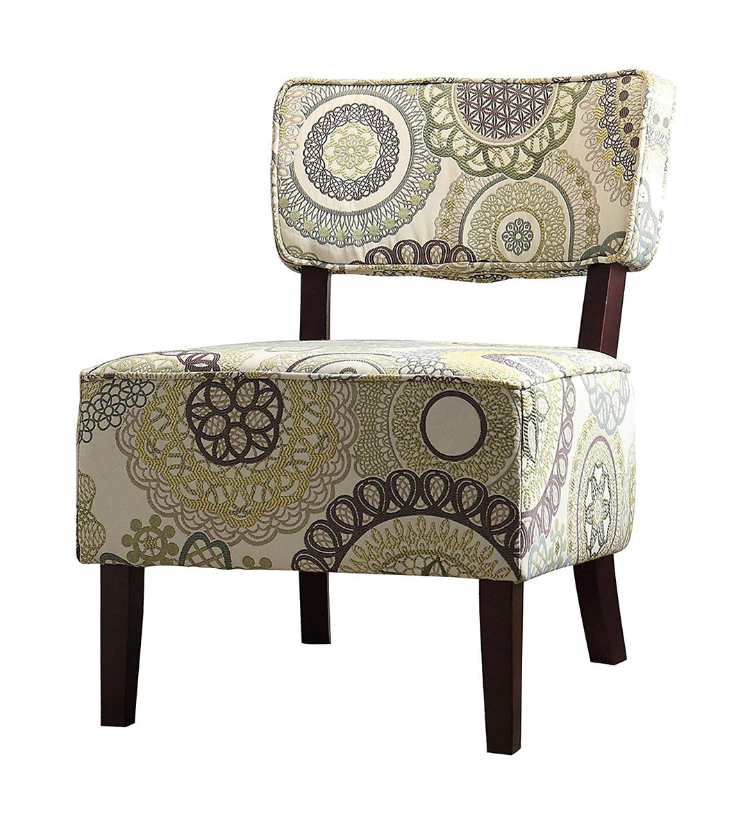 Armless Accent Chair, Beige with Floral Medallions Stitching Fabric