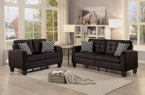 Sinclair Tufted Accent Sofa with Two Geometric Pattern Toss Pillows, Chocolate