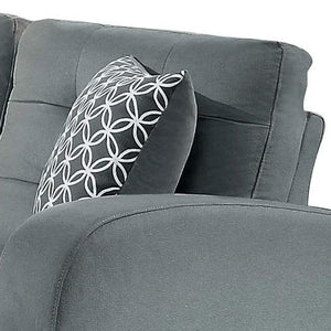 Sinclair GREY Tufted Accent Loveseat with Two Geometric Pattern Toss Pillows
