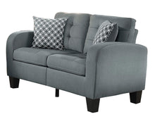 Load image into Gallery viewer, Sinclair GREY Tufted Accent Loveseat with Two Geometric Pattern Toss Pillows