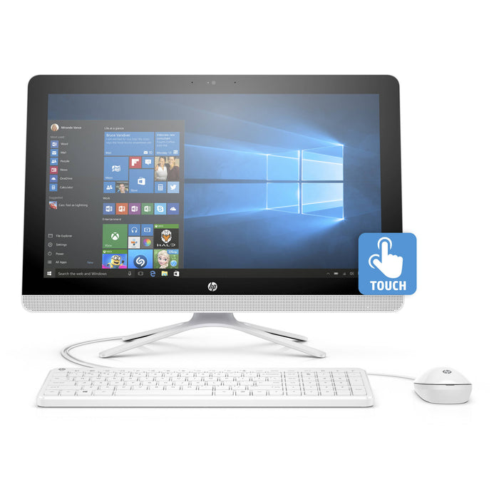 "HP 22-b013w Snow White All-in-One PC with 21.5"" Full HD IPS Touch Display, Intel Pentium J3710 Processor, 4GB Memory, 1TB Hard Drive and Windows 10 Home"