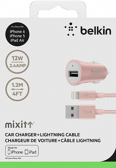 Belkin Universal Car Charger with Lightning Cable - Rose Gold