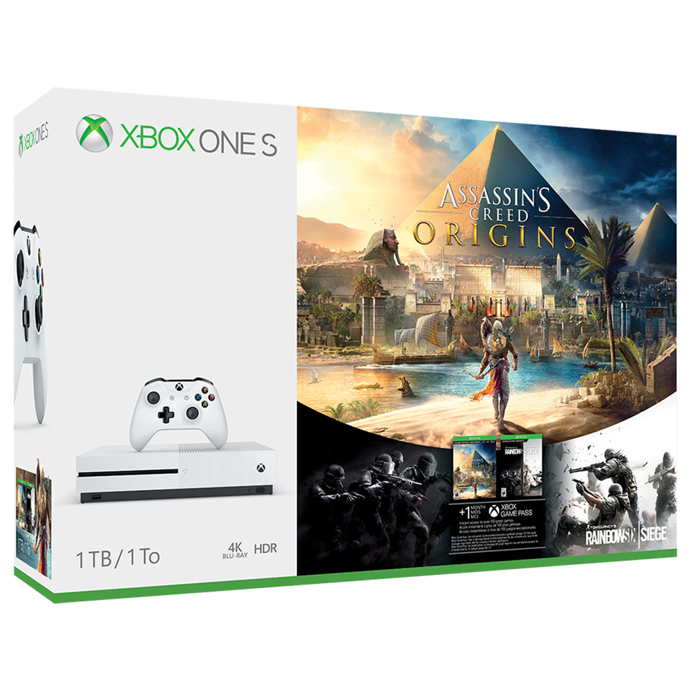 Microsoft Xbox One S 1TB Assassin's Creed Origins Bonus Bundle, White, 234-00226