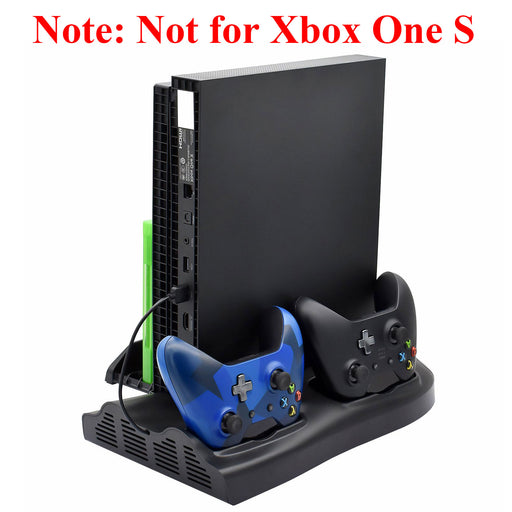 Vertical Stand for Xbox One X with Cooling Fans, Dual Controller Charging Station + 3 USB Device Port + Game Discs Storage Seat for Xbox One X Game Console