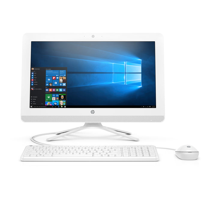 HP 20-C410 Snow White All in One PC, Intel CeleronJ4005 Graphics, 4GB Memory, 1TB Hard Drive, Intel UMA Graphics, Windows 10, DVD, Keyboard and Mouse