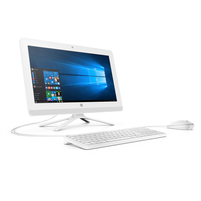 HP 20-C410 Snow White All in One PC, Intel Celeron J4005 Graphics, 4GB Memory, 1TB Hard Drive, Intel UMA Graphics, Windows 10, DVD, Keyboard and Mouse