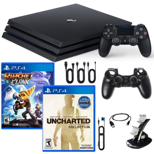 PlayStation 4 Pro Console Nathan Drake, Ratchet and Clank Games and Accessories