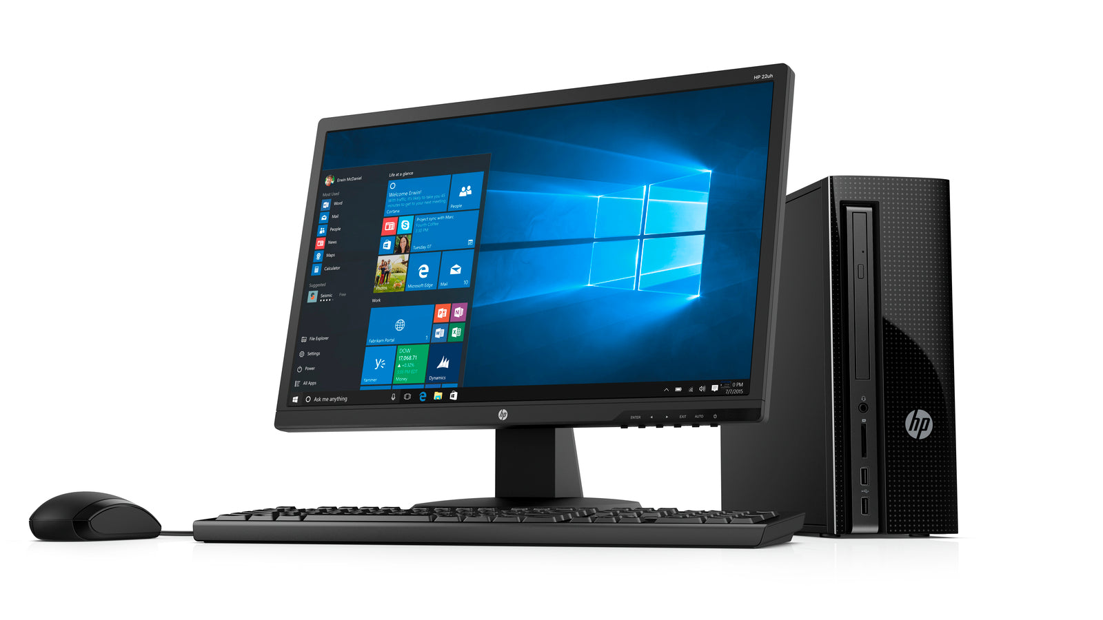 "HP Slim 270-p013wb Desktop and 21.5"" Monitor Bundle, Intel Pentium G4560T, 4GB Memory, 1TB HDD, Windows 10"