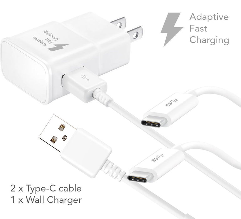 LG G5 Charger Fast Type-C USB 2.0 Cable Kit by Ixir - {Fast Wall Charger + 2 Type-C Cable}