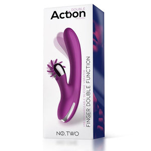 No. Two Finger Vibrator with Rotating Wheel USB Silicone