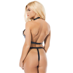 Semi Open Leather Bikini Adjustable