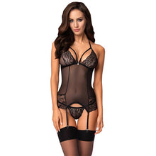 Load image into Gallery viewer, Obsessive Set Corset/Garter Black