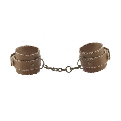 Shots Ouch! Brown Leather Hand Cuffs Brown