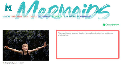 Mermaids Donation confirmation Page
