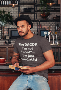 Dagda Good At It - Brown, Olive & Navy - Unisex Short Sleeve Jersey T-Shirt - Eel & Otter