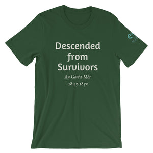 Descended from Survivors - Black, Navy & Forest Green - Unisex Short Sleeve Jersey T-Shirt - Eel & Otter