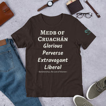 Load image into Gallery viewer, Medb of Cruachan - Black, Green & Brown - Unisex Short Sleeve Jersey T-Shirt - Eel & Otter
