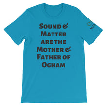 Load image into Gallery viewer, Sound and Matter - Aqua, Silver, Soft Cream, - Short-Sleeve Unisex T-Shirt - Eel & Otter